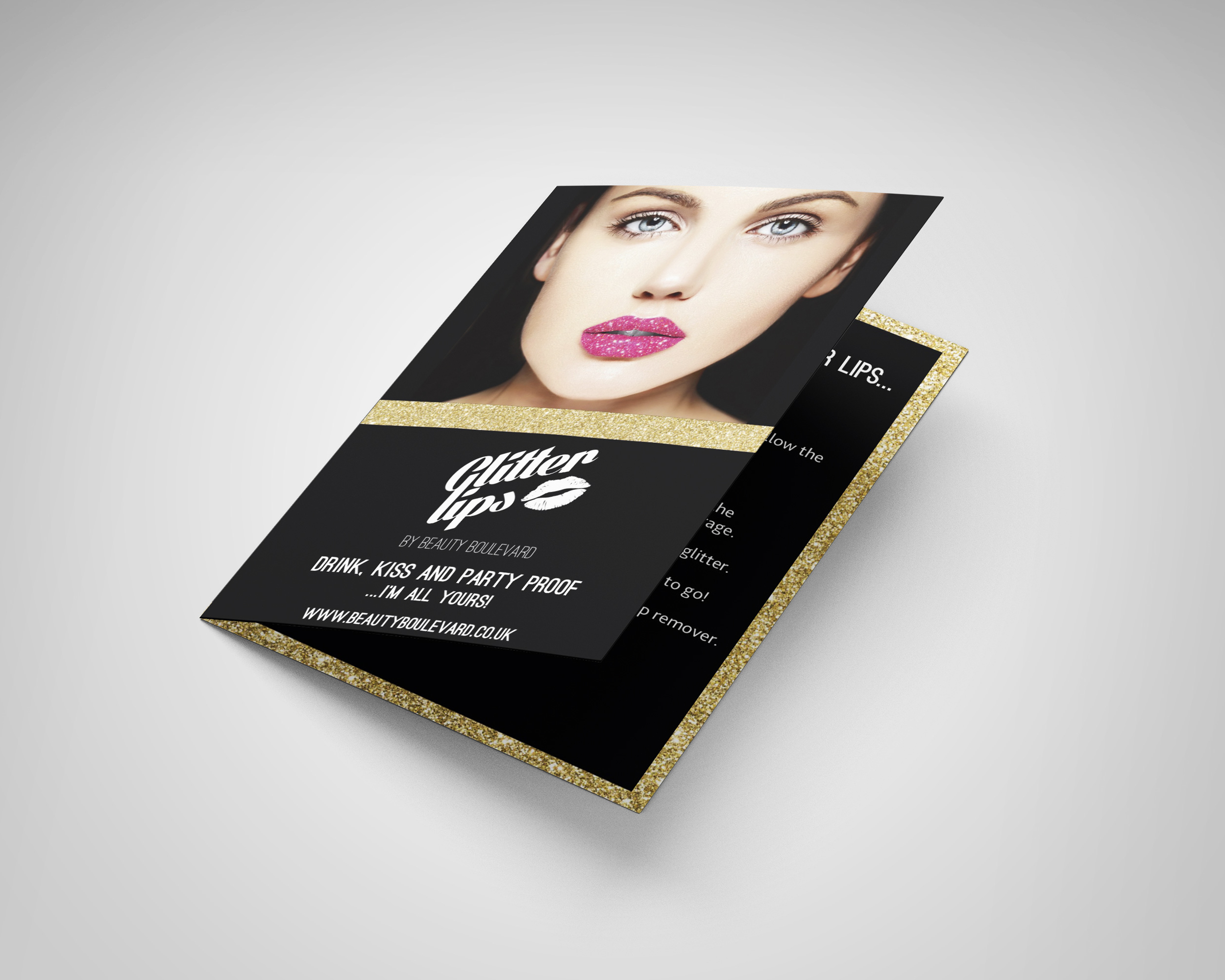 BeautyBLVD Glitter Lips Leaflet Design