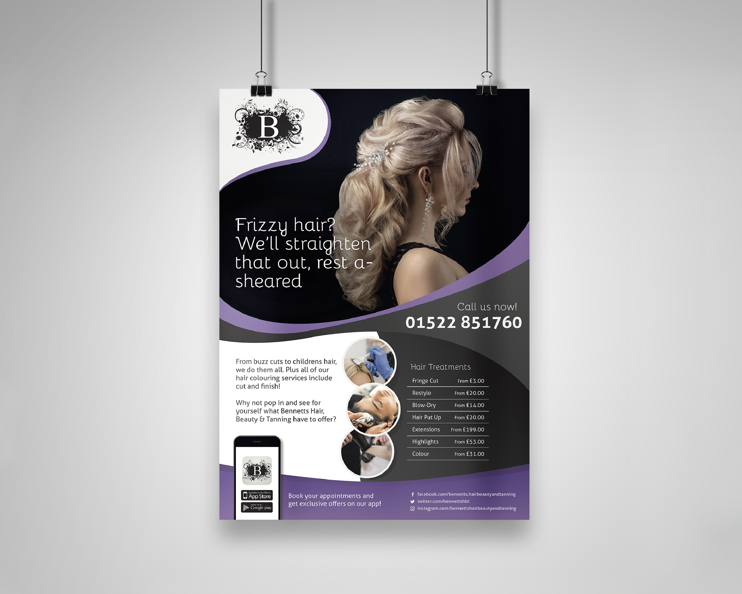 Bennetts Hair Beauty & Tanning Hair Services Poster